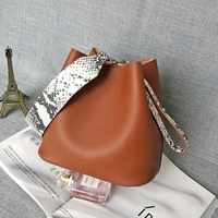 Hanyuna Brand 2017 New Fashion Genuine Leather Child Mother Ladies Bucket Handbag Latest Single Shoulder Women