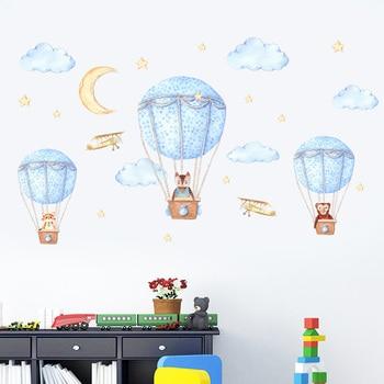 Animal Hot Air Balloon Wall Sticker For Kids Rooms Nursery Background Wallpaper Decoration Mural Art Decals Cartoon Stickers