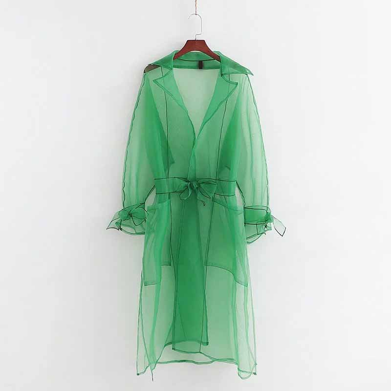 Elegant Female Organza Mesh Coat Ladies Long Sleeve Transparent Jackets Turn Down Collar Women Tailored Collar See Through Tops