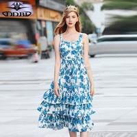 dress 2018 summer high quality quality runway dress blue flowers print spaghetti dress 180726