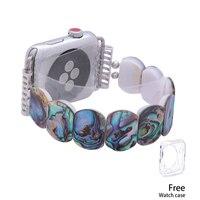 New Design Round Shell Watchband For iWatch Apple Watch Strap 38mm/42mm Elastic Handmade Watch Bands Women Men Bracelet Bangle