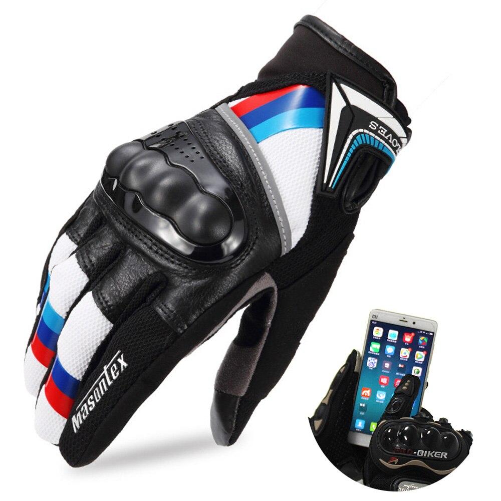 Leather Motorcycle Gloves Touchscreen Full Finger Motorcross Dirt Racing Offroad ATV Moto Riding Motorbike Gloves for Men Women