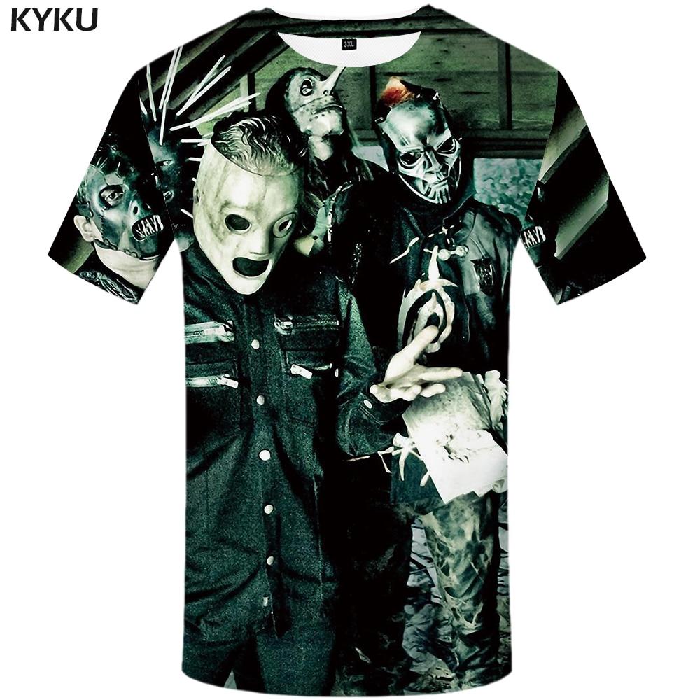 2aa6068b2 KYKU Slipknot Tshirt Men Band T Shirt Green Hip Hop Tee Streetwear Anime  Clothes Character 3d