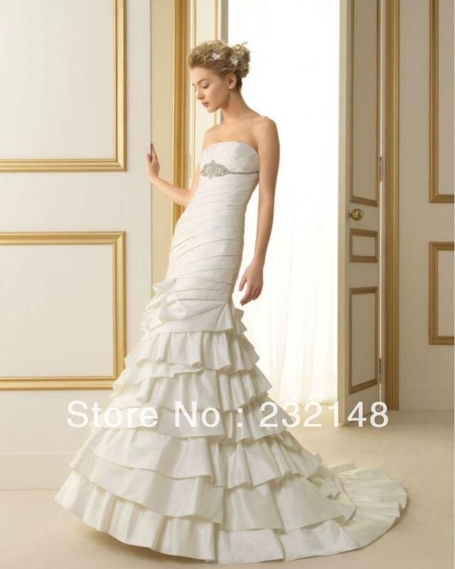 2016 Nuevo Blanco de Marfil de la Sirena Del Hombro Con Gradas Vestido De Casamento Vestidos