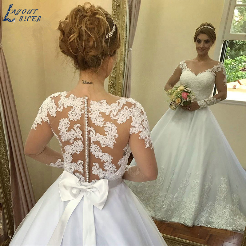 YQS042 Robe De Mariage 2019 Bridal Dress Vintage Plus Size Lace Wedding Dress Princess long Sleeve wedding gown vestido de noiva