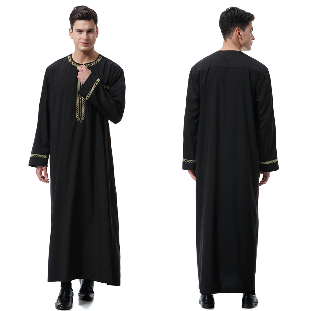 HTB15.GOeRCw3KVjSZR0q6zcUpXas - New black jubba thobe islamic clothing men caftan homme zipper arabic djellaba homme pakistan robe muslim djellaba men islam