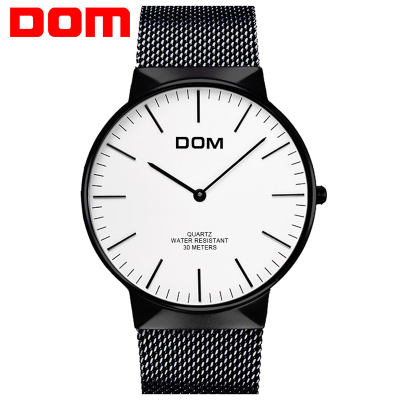 Watch Men DOM Top Luxury Brand Men's Watches Ultra Thin Stainless Steel Mesh Band Quartz Wristwatch Fashion casual M-32M bosck top luxury watch men brand men s watches ultra thin stainless steel band quartz wristwatch fashion casual leather watches