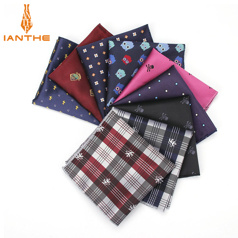 Luxury Men's Handkerchief Skull Plaid Wowen Jacquard Hankies Polyester Hanky Business Vintage Pocket Square Chest Towel 23*23CM
