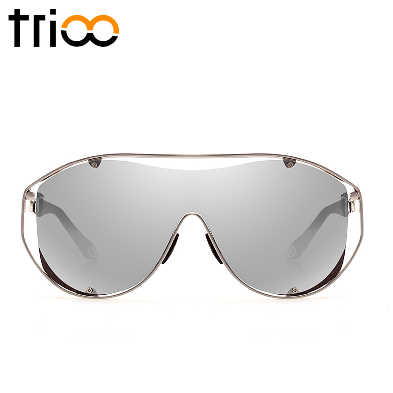 TRIOO Conception Design Mens Sunglasses Oversized Big Frame Male Oculos Goggle Style Sun Glasses Man Gold Frame Shades