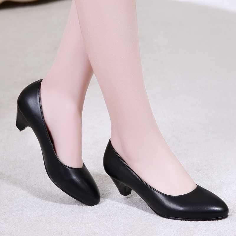 62c7d66639f70 Nueva Oficina de la Mujer zapatos de 3 cm tacones Altos Tacones Bajos de La  Bomba para Las Mujeres Maduras Nueva Moda Zapatos de Vestido de la Señora  en ...