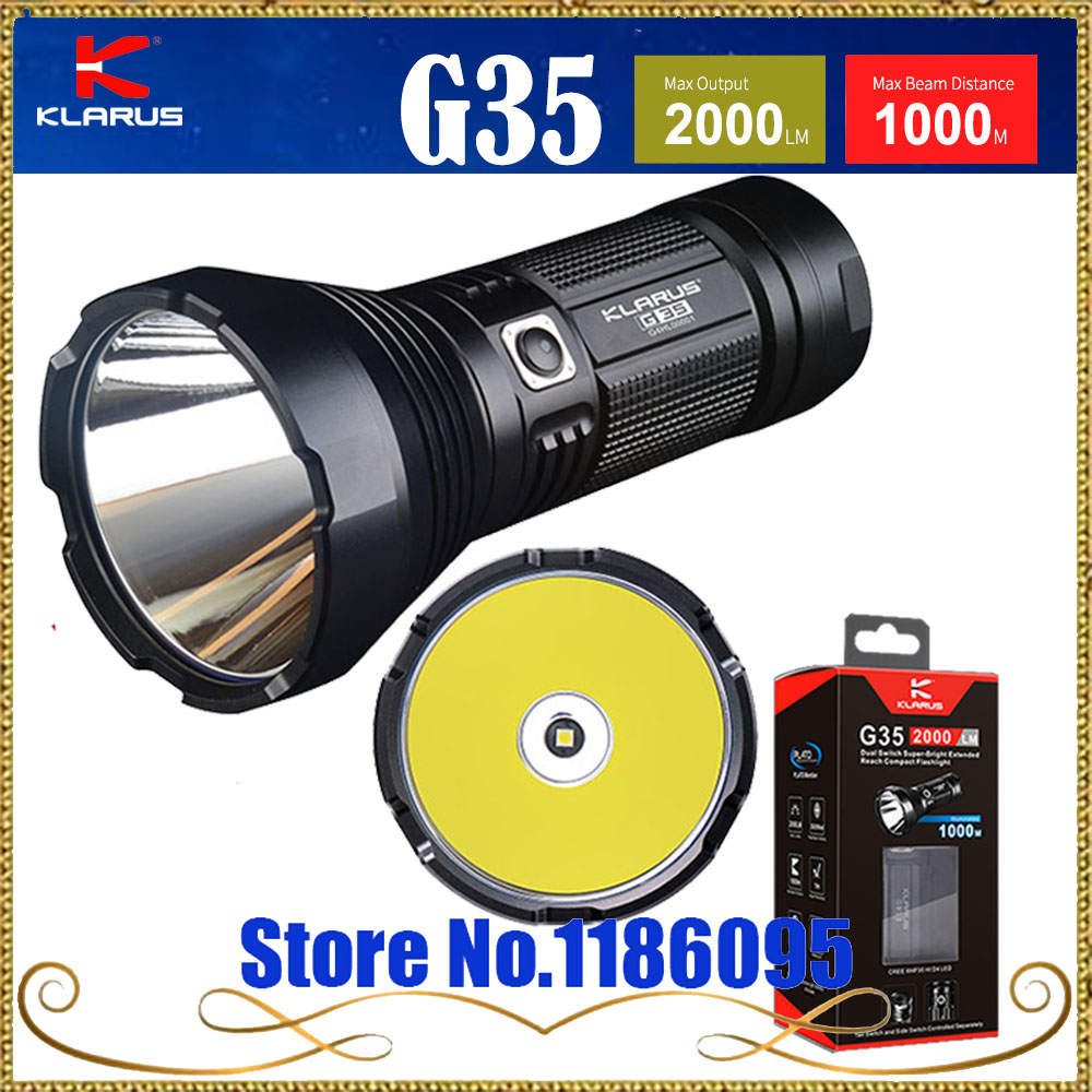 KLARUS G35 flashlight CREE XHP35 HI D4 LED 2000LM Max beam distance 1000M, best suited for outdoor adventures; search Torch new klarus xt11gt cree xhp35 hi d4 led 2000 lm 4 mode tactical led flashlight free usb port and 18650 battey for self defence