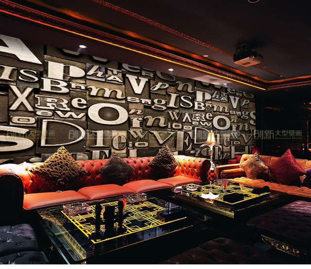 Any Size Custom Retro Letter Art 3D Wallpaper Mural Roll Office Hotel Restaurant Living Room Cafe