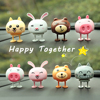 Cute Decoration Nodding Bear Car Ornaments Automobiles Dashboard Swinging Shaking Head Cat Doll Dancing Toys Accessories Gifts