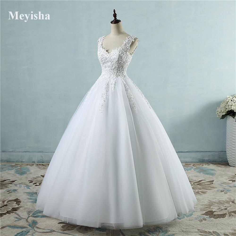 ZJ9076 New White Ivory Crystal Pearl Lace rochii de mireasa 2017 - Rochii de mireasa - Fotografie 3