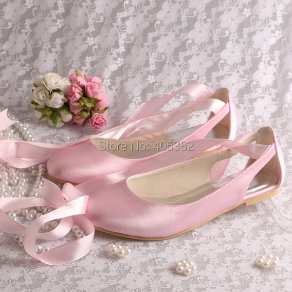 (20 Colors) High Quality Ballet Style Closed Toe Pink Wedding Bridal Shoes Size 34-42