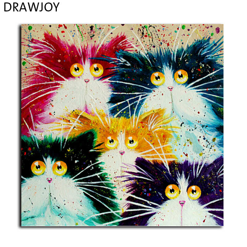 DRAWJOY Framed Picture Painting By Numbers DIY Coloring By Numbers On Canvas Colorful Cats Home Decor 40*50cm Painting GX4039
