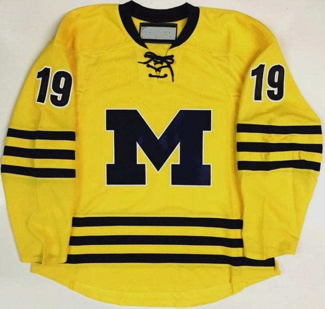 3dfdd1e92 ... sale michigan wolverines yellow 19 dylan larkin hockey jersey  embroidery stitched customize any number and name