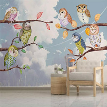 Custom 3D mural owl background wall children's room background wall decoration painting wallpaper mural photo wallpaper
