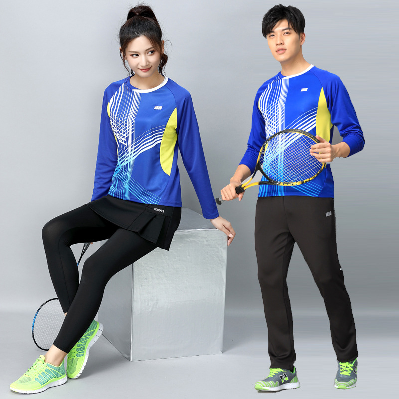 Badminton clothing men and women long sleeved skirt pants suit quick drying large size tennis fitness