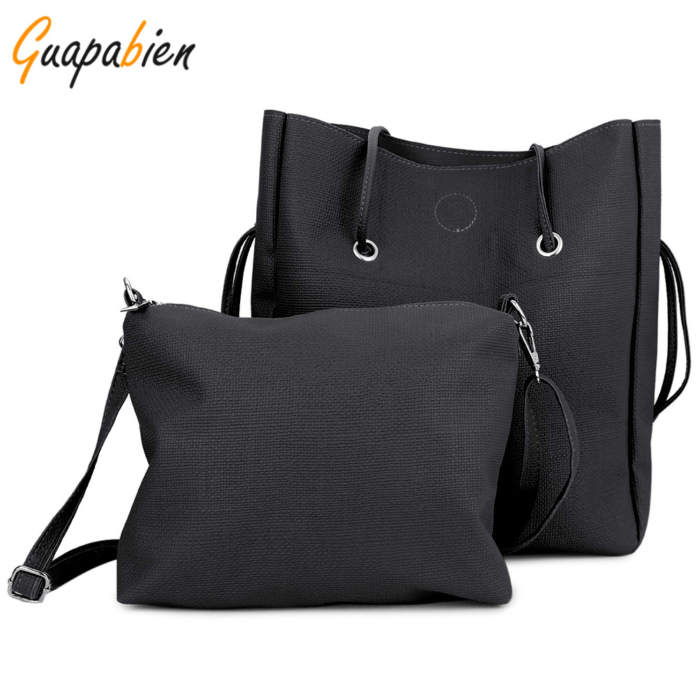 Guapabien Fashion Casual 1 Set Women Shoulder Bags Long Strap Handbag Composite Bag Totes Cheap Soft Leather Women Bag Sets