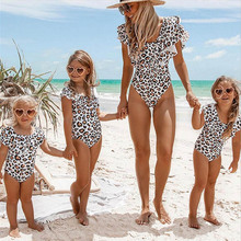 New Parent-child Swimsuit One-Piece Suits Mother Daughter Ruffle Swimwear Family Matching Clothes Bathing