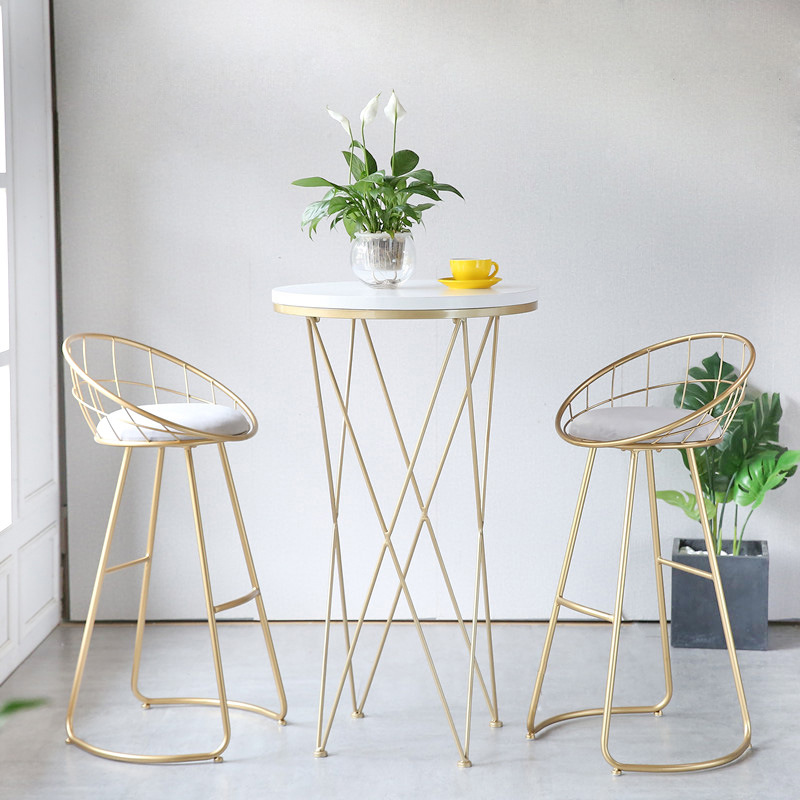 Metal Creative Nordic Bar Stool Bar Chair Fashion Counter Stool High Stool Simple Dining Chair Cheap free to russsian