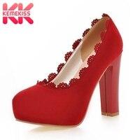 KemeKissNew כיכר נעלי חתונה מסיבת עקבים גבוהים מגזרת Nubuck עליון אדום שחור נעלי פלטפורמת משאבות גודל נעליים 33-עטוף 43