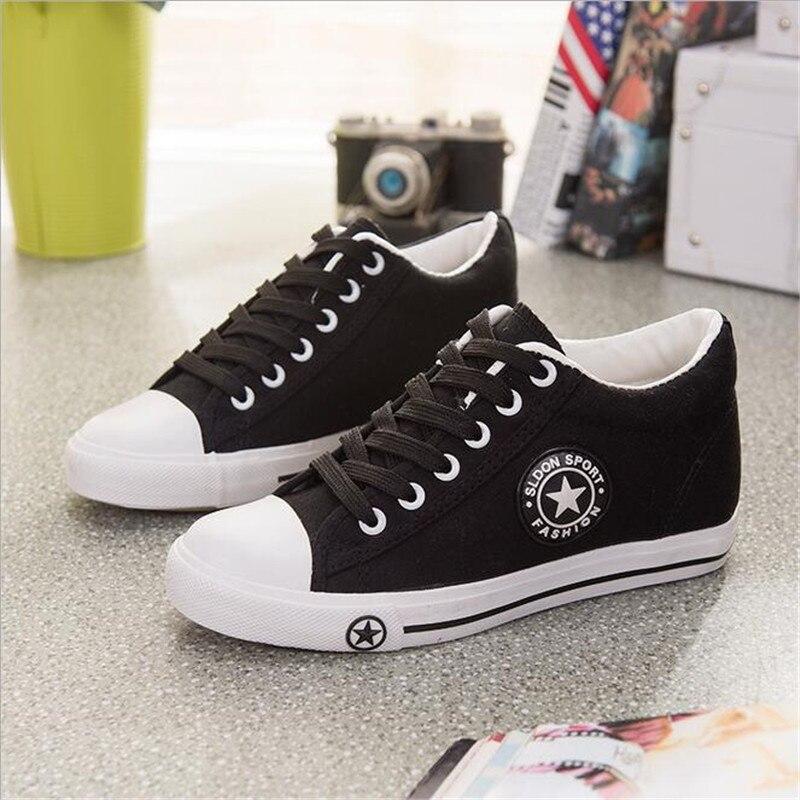 Vulcanize estrellas Zapatos Mujer cuñas zapatillas verano cesta Mujer lona zapatillas damas Casual blanco Zapatos Tenis Mujer