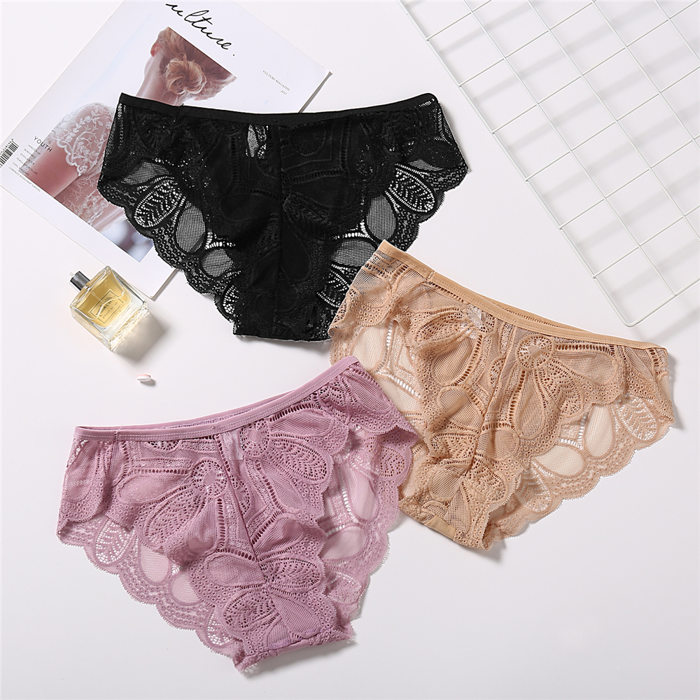 Floral Lace Panties Simple Soft Breathable Briefs Women Bowknot Underwear Lingerie Panties Sexy Woman Female Underpants 2019