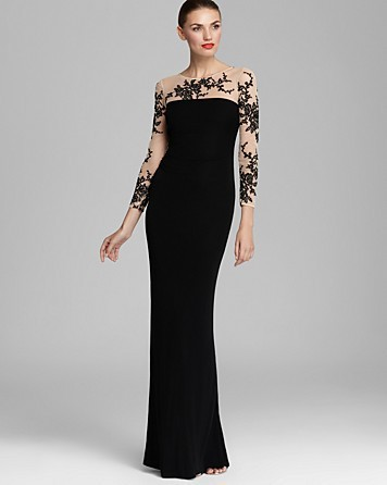 Buy 2017 Appliqued Long Sleeve Mermaid Evening Dresses with Illusion Nude Tulle Floor Length No Train