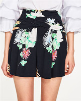 WISHBOP NEW 2017 Woman Black Shorts With Multicoloured floral print Bermuda shorts Skirts Gathered Stretch waist back