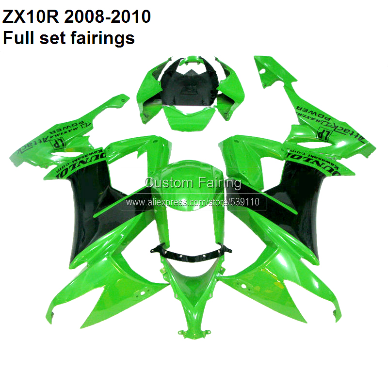 For Kawasaki Ninja ZX10R 08 - 10 2008 2009 2010 green / black ZX-10R fairing kit fairings [XX002]