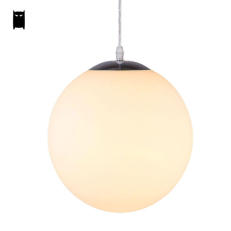 20/25/30/35/40cm Milky White Glass Ball Globe Pendant Light Cord Fixture Modern Nordic Hanging Lamp Luminaria Foyer Dining Room 25 30 40cm iron clear glass globe ball pendant light fixture modern simple nordic lamp avize luminaria dining table room hallway