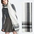 Новый Бренд Моды для Женщин, черный и белый плед Кашемира одеяла теплая Зима Шарф мужской женский