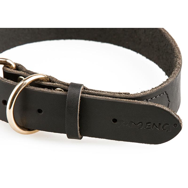 Real Leather Dog Collars Brun Sort Solid Color Prøve Hunde Halskæde - Pet produkter - Foto 4