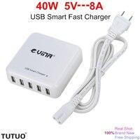 Neue Tragbare 8A High Speed Micro 5 Port USB Desktop Schnelle ladegerät Sicherheit Smart IC Wechselstrom-wand-adapter-aufladeeinheit Universal Adapter Schnellladung