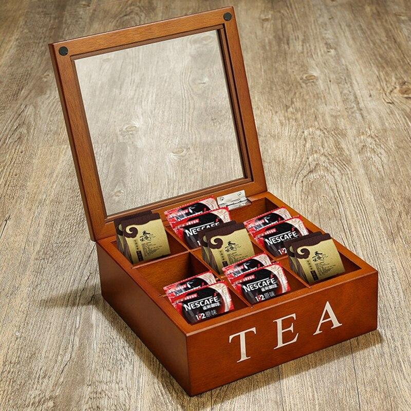 Nouvelle grande laine de Bois café caddy thé caddy 23*24*9 cm de stockage boîte de chêne Américain boîte de rangement 9 fps boîte en bois Grille amovible