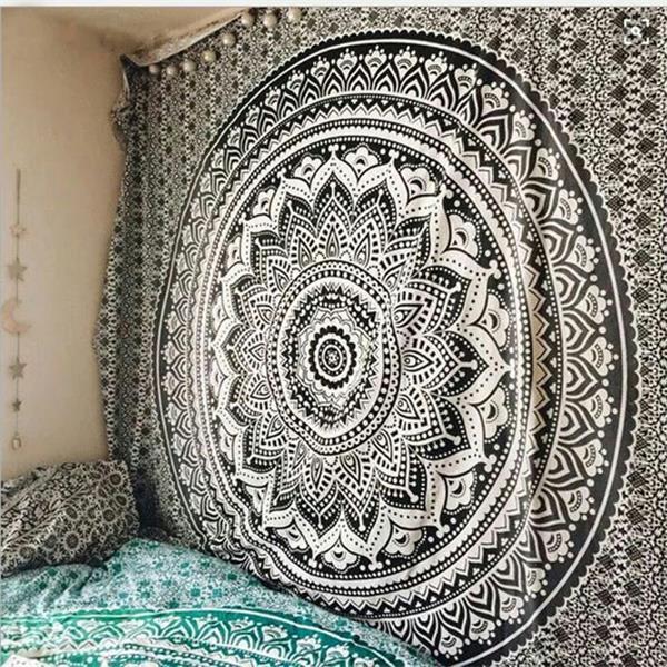 Large Mandala Indian Tapestry Wall Hanging Bohemian Beach Mat Polyester Thin Blanket Yoga Shawl Mat 200x150cm Blanket