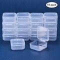18 pçs pequenas caixas quadrado transparente caixa de armazenamento de jóias de plástico acabamento recipiente caixa de armazenamento de embalagem para brincos anéis