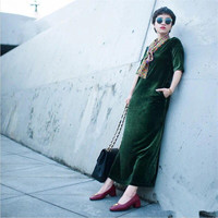 Plus size M 6XL 7XL Women half sleeve fashion long velvet dress,Spring Autumn sexy women office velour dress black green blue