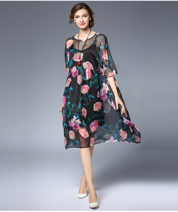 efdf184c74508 US $50.9 |New 2017 Summer style women Floral printed Chiffon dress Plus  Size elegant twinset loose fit casual vestidos tunics XXXXL 6387-in Dresses  ...