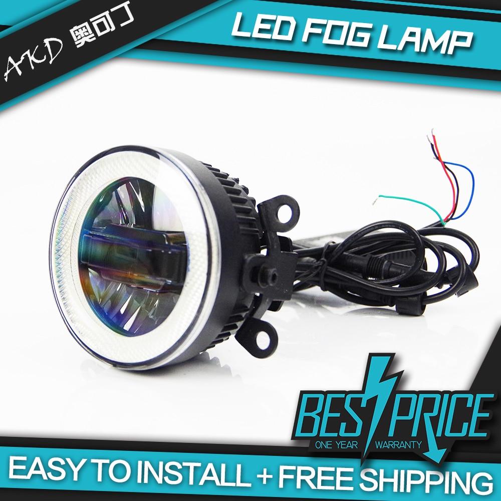 AKD Car LED Fog Lamp for Ford kuga Escape Angel eye aperture LED DRL light bar Energy saving Cob Low Beam Daytime