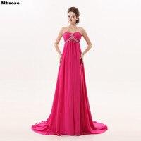 Rose Red Empire Waist Sexy Beach Evening Dress Chiffon Formal Party Evening Dresses Long Pregnant Women