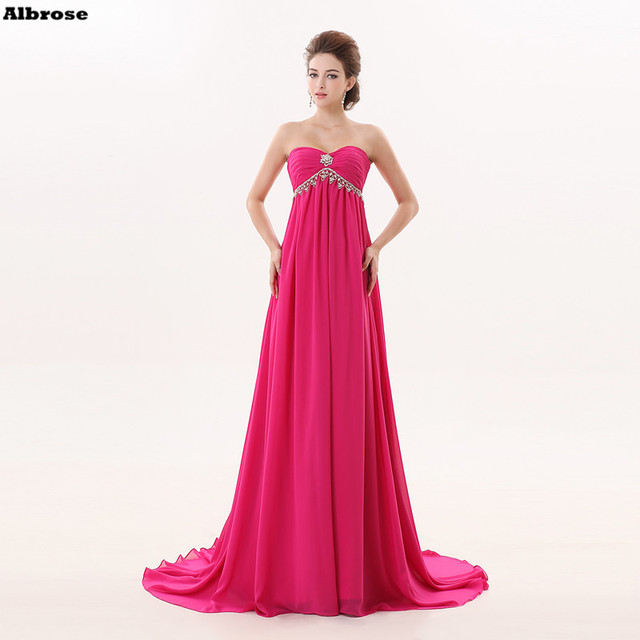 Rose Red Empire Taille Sexy Strand Avondjurk Chiffon Formele Party ...