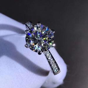 Image 3 - 925 แหวนเงินแท้ 1CT 2CT 3CT สไตล์คลาสสิก Moissanite แหวนเพชรงานแต่งงานครบรอบเครื่องประดับ GRA certifica