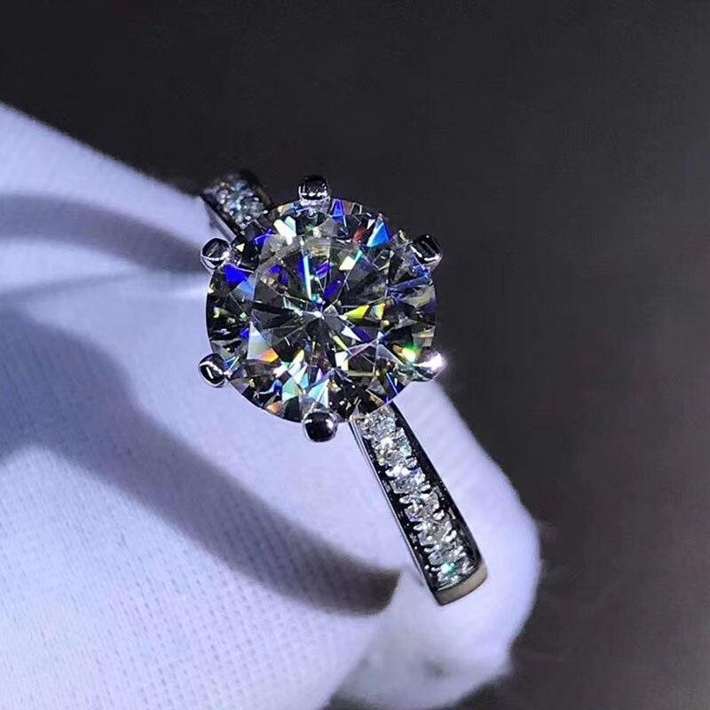 Bague en argent sterling 925 1ct 2ct 3ct style classique bague Moissanite diamant bijoux d'anniversaire de mariage avec certificat GRA - 4