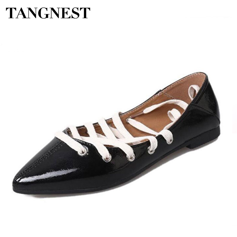 Tangnest NEW Woman Pointed Toe Ballet Flats  Patent Leather Chic Lace Up Flats Casual Cross-tied Lady Flat Shoes Black soft leather christy lace up flats pointed toe ballet loafers spring summer shoes woman cross strappy casual gladiator sandals