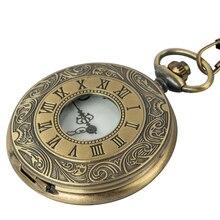 Antique Vintage Bronze Roman Number Necklace Quartz Pocket Watch Chain birthday gift Alchemist цена