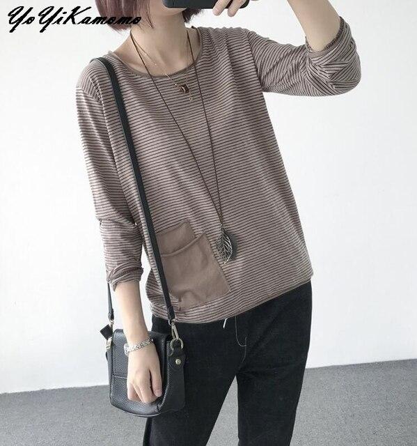 YoYiKamomo Camisa de algodón a rayas para mujer, blusa holgada de manga larga de algodón y bambú para primavera y verano, Color liso, 2018