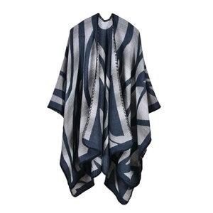 Image 3 - 2019 nuevas bufandas de Invierno para mujer, Ponchos y capas de Cachemira, moda femenina, Pashmina, chal tejido, capa de manto, estolas